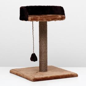 """Когтеточка """"Столбик"""" с лежанкой, 40 х 40 х 55 см, светло-коричневый"""