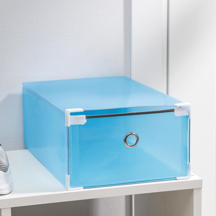 Короб для хранения выдвижной «Моно», 22×34×13 см, цвет синий - фото 308334808
