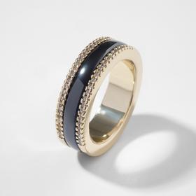 """Кольцо керамика """"Инь-Ян"""" грани, цвет чёрный в золоте, 17 размер"""