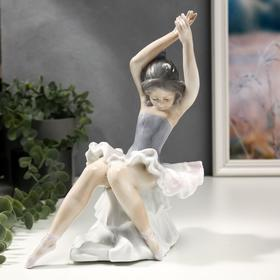 """Сувенир керамика """"Балерина в волнистой пачке на пуфе"""" цветной 24х12,5х19,5 см"""