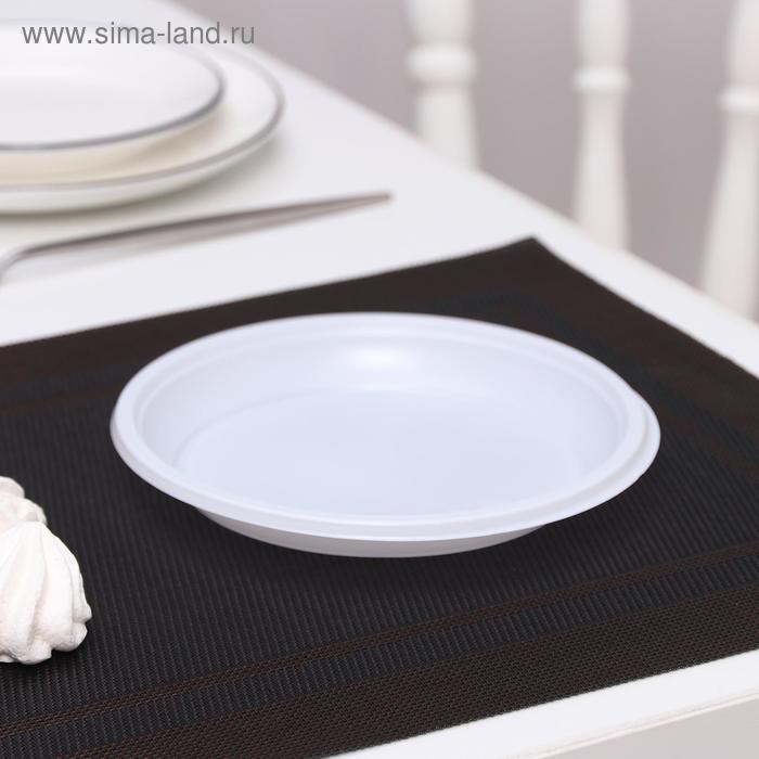 Тарелка десертная одноразовая d=16,7 см, цвет белый, набор 100 шт