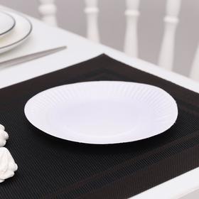 Набор тарелок одноразовых, d=17 см, цвет белый, 100 шт/уп