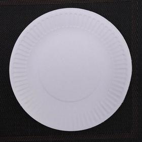 Набор одноразовых тарелок, d=17 см, цвет белый, 100 шт/уп