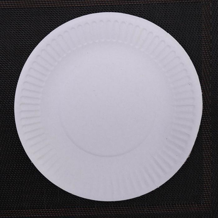 Набор одноразовых тарелок, d=17 см, цвет белый