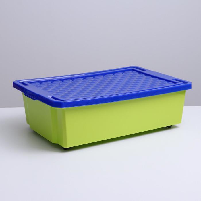 """Ящик для игрушек 30 л """"Лего"""" на колесах, с крышкой, цвет фисташковый"""