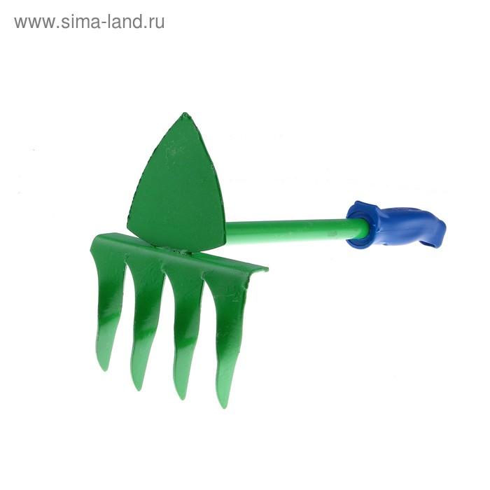 Мотыжка комбинированная, длина 35 см, 4 зубца, пластиковая ручка