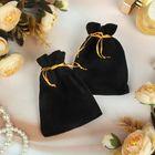 Мешочек бархатный, 9*12, цвет чёрный с золотым шнурком