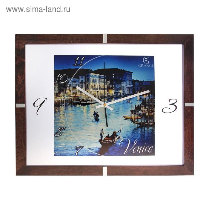 """Часы настенные деревянные застекленные """"Венеция"""", арабские цифры"""
