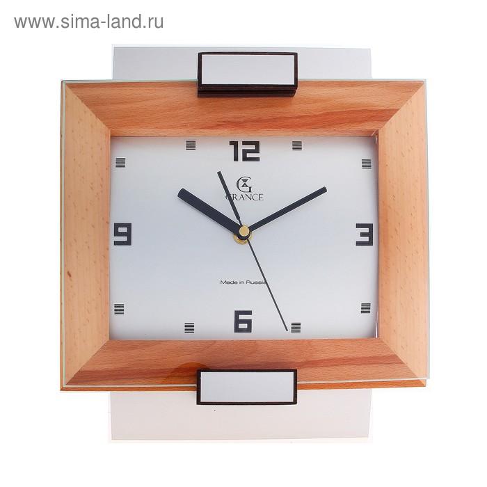 """Часы настенные деревянные """"Grance"""", арабский цифры на белом фоне"""