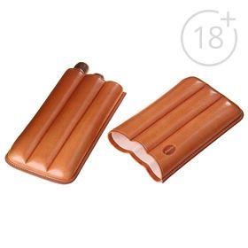 Cigarette case light brown, for 3 cigars, d = 2,1 cm