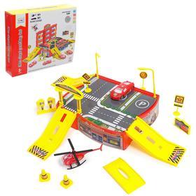 Парковка «Пожарная часть», с машиной и вертолётом