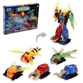 """Набор инерционных роботов """"Комманда насекомых"""", трансформируется, собираются в большого робота"""