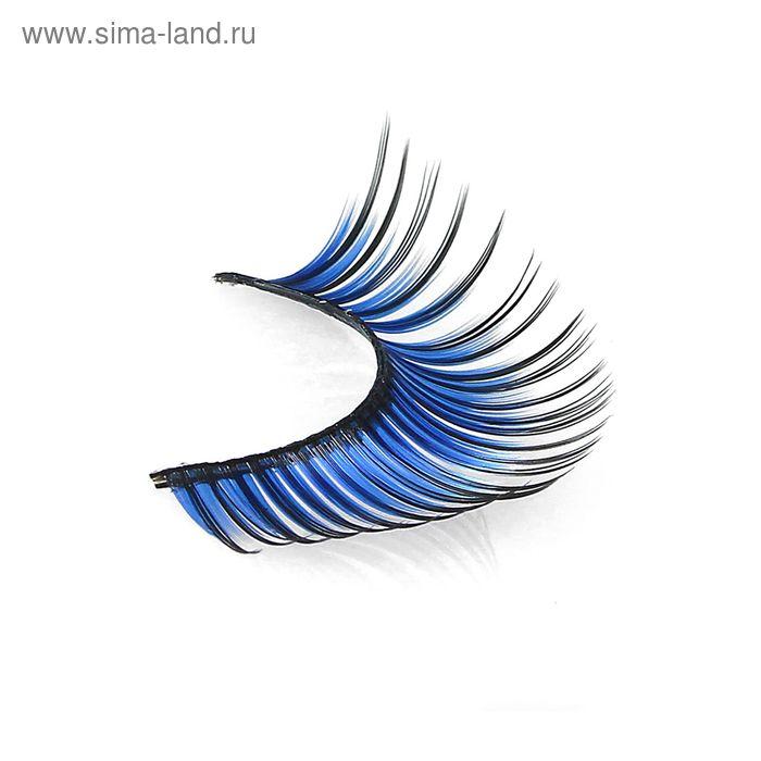 Ресницы накладные, с клеем, цвет синий