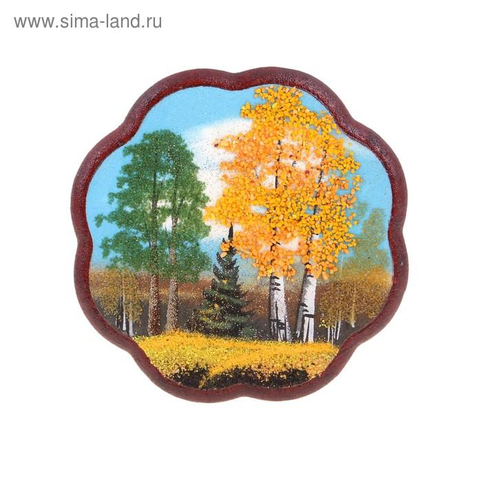 "Картина ""Осень"" круглая, каменная крошка"