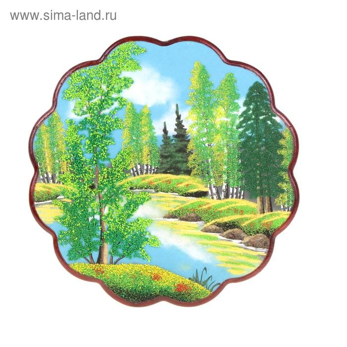 Картина круглая №3 37 см каменная крошка