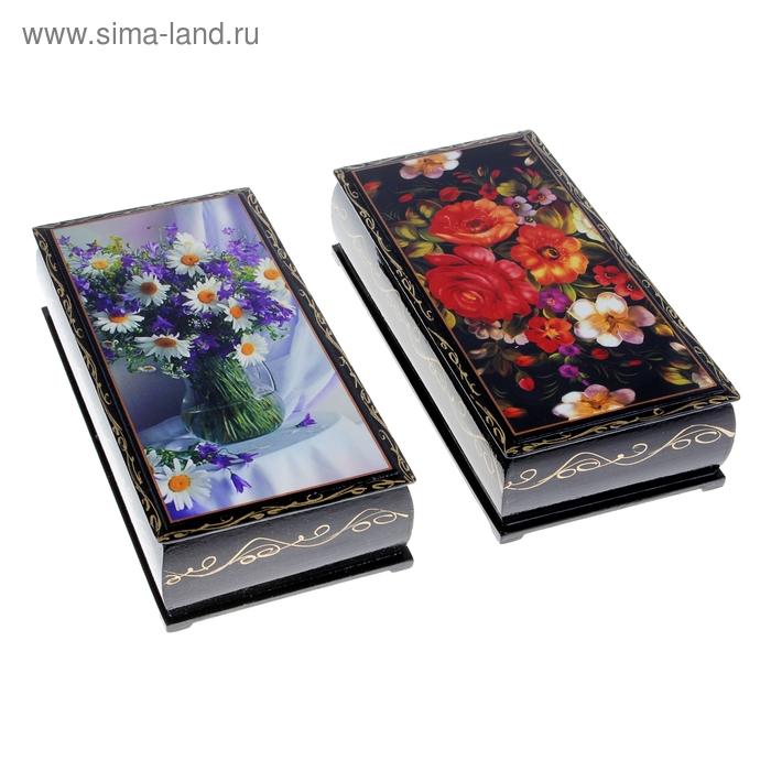 Пенал 11х22х5,5 см большой купюрник Цветы лаковая миниатюра микс дерево