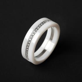"""Кольцо керамика """"Карма"""" огранка, цвет белый в серебре, 18 размер"""