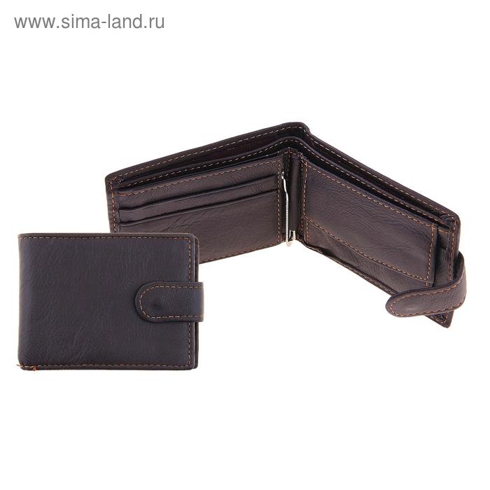 """Кошелёк мужской """"Адам"""" 2 отдела для купюр, отдел для кредиток, зажим для купюр, монетница, цвет коричневый"""