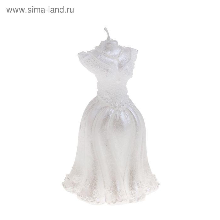 """Свеча восковая """"Свадебное платье"""", цвет белый"""