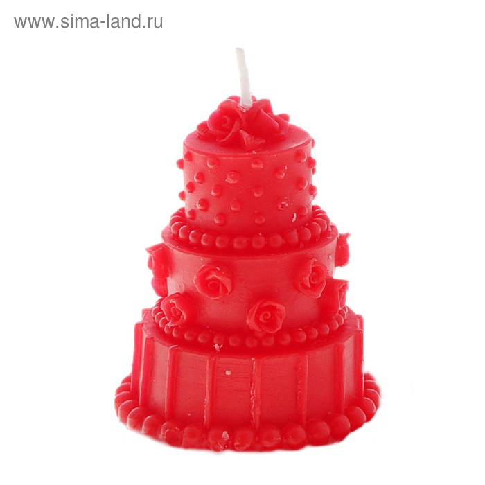 """Свеча восковая """"Тортик"""" ароматизированная, цвет красный"""