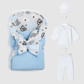 Комплект для новорождённых, цвет голубой, рост 56-62 см