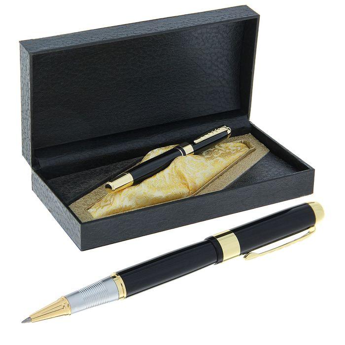 Ручка капиллярная, подарочная, в кожзам футляре, «Престиж», чёрный с золотыми вставками - фото 366927021