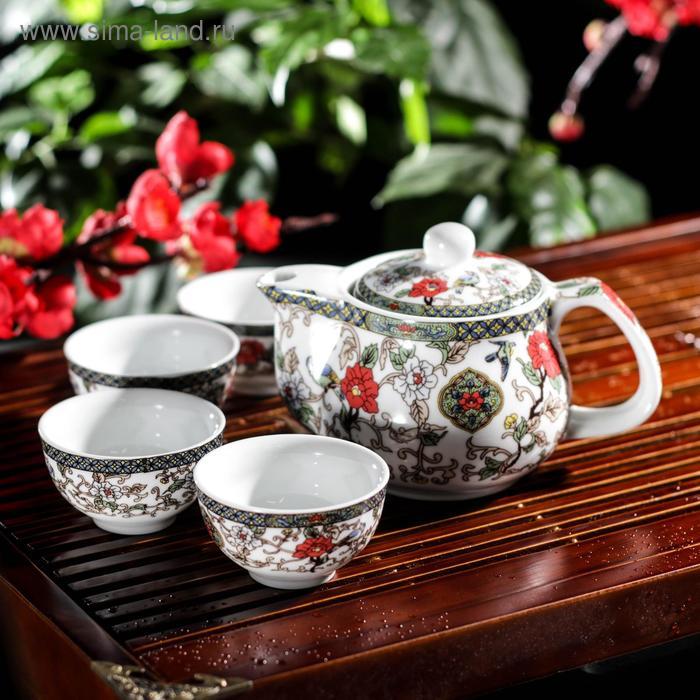 """Набор для чайной церемонии 5 предметов """"Цветение"""" (чайник 200 мл, чашка 30 мл)"""