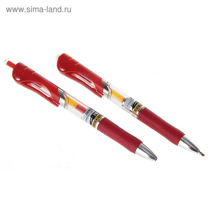 Ручка гелевая автоматическая 0,5 мм красная, прозрачный корпус с резиновым держателем ASQI