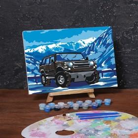 Картина по номерам на холсте с подрамником «Внедорожник в горах» 20х30 см