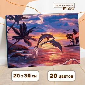 Картина по номерам на холсте с подрамником «Игра дельфинов» 20х30 см
