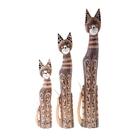 Набор Кошки с зеркальными ушками дымчатые 3 шт 60,80,100 см 110241/5 дерево албезия