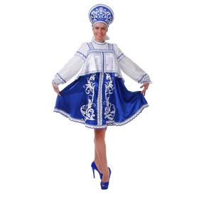 Русский  костюм: платье с отлетной кокеткой, кокошник, помпоны, р.44 рост 172