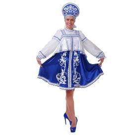 Русский  костюм: платье с отлетной кокеткой, кокошник, помпоны, р.46 рост 172