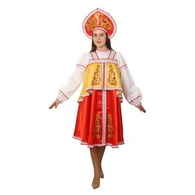 Русский костюм: платье с отлетной кокеткой, кокошник, красно-желтый, р.44 рост 170