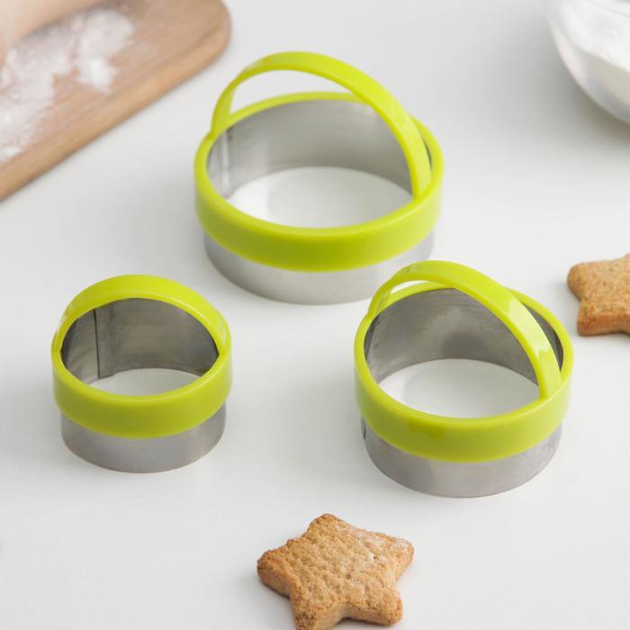 Набор форм для вырезания печенья KONFINETTA «Круг», 7×4,5 см, 3 шт, цвет МИКС - фото 1169085