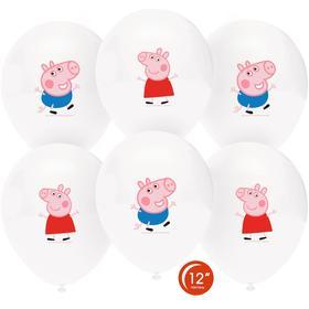 """Шар латексный 12"""" «Свинка Пеппа и Джордж», пастель, 1-сторонний, набор 25 шт."""
