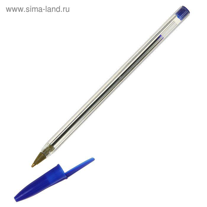 Ручка шариковая, прозрачный корпус с синим колпачком, стержень синий
