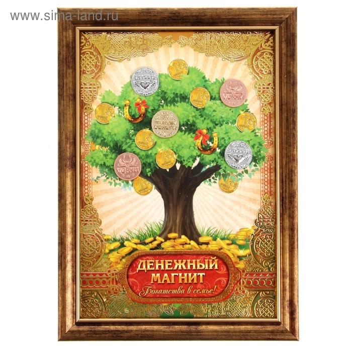 """Денежное дерево в рамке """"Денежный магнит"""""""