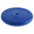 """Диск обрезиненный """"TORRES"""", 15 кг, d=25 мм, металл в резиновой оболочке, цвет: синий"""