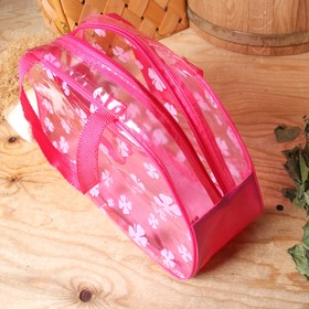 Cosmetic bag PVC, division zipper, 2 handles, colour raspberry