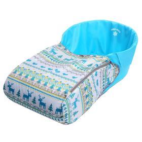 Сиденье мягкое для санок с чехлом для ног «Вязанный узор», цвет бирюзовый