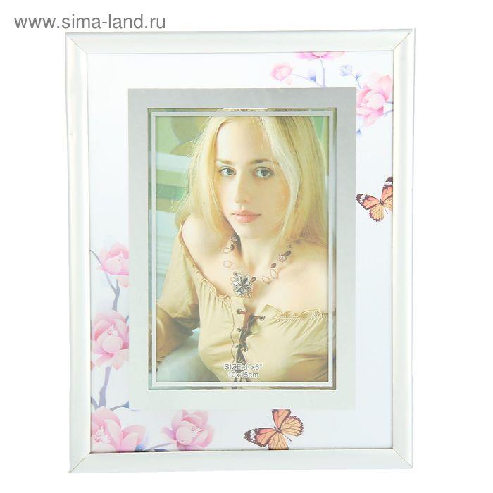"""Фоторамка """"Розы с бабочками"""" с окантовкой 10х15 см"""