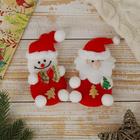 """Мягкие ёлочные игрушки """"Дед Мороз и снеговик"""" (набор 2 шт.)"""