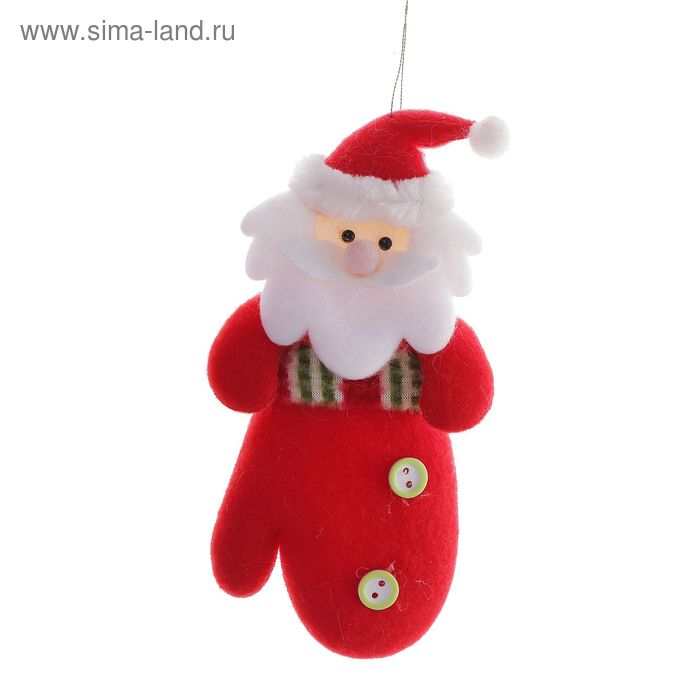 """Подвеска """"Дед Мороз в красной варежке с пуговками"""""""