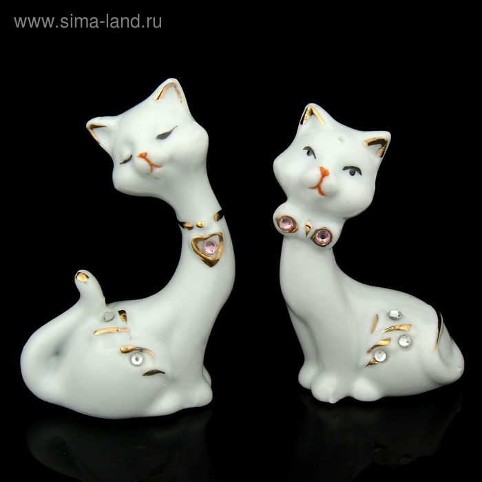 """Сувенир """"Кошечки белые"""" со стразами, набор из 2-х шт"""
