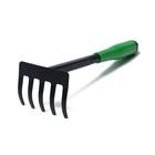 Грабли, длина 30 см, пластиковая ручка, зелёные