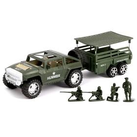 """Машина инерционная """"Военный джип"""", с прицепом и солдатами"""