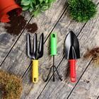 Набор садового инструмента, 3 предмета: рыхлитель, вилка, совок, длина 24 см, пластиковые ручки