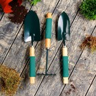 Набор садового инструмента, 3 предмета: совок узкий, совок широкий, грабли, длина 36 см, деревянные ручки с поролоном