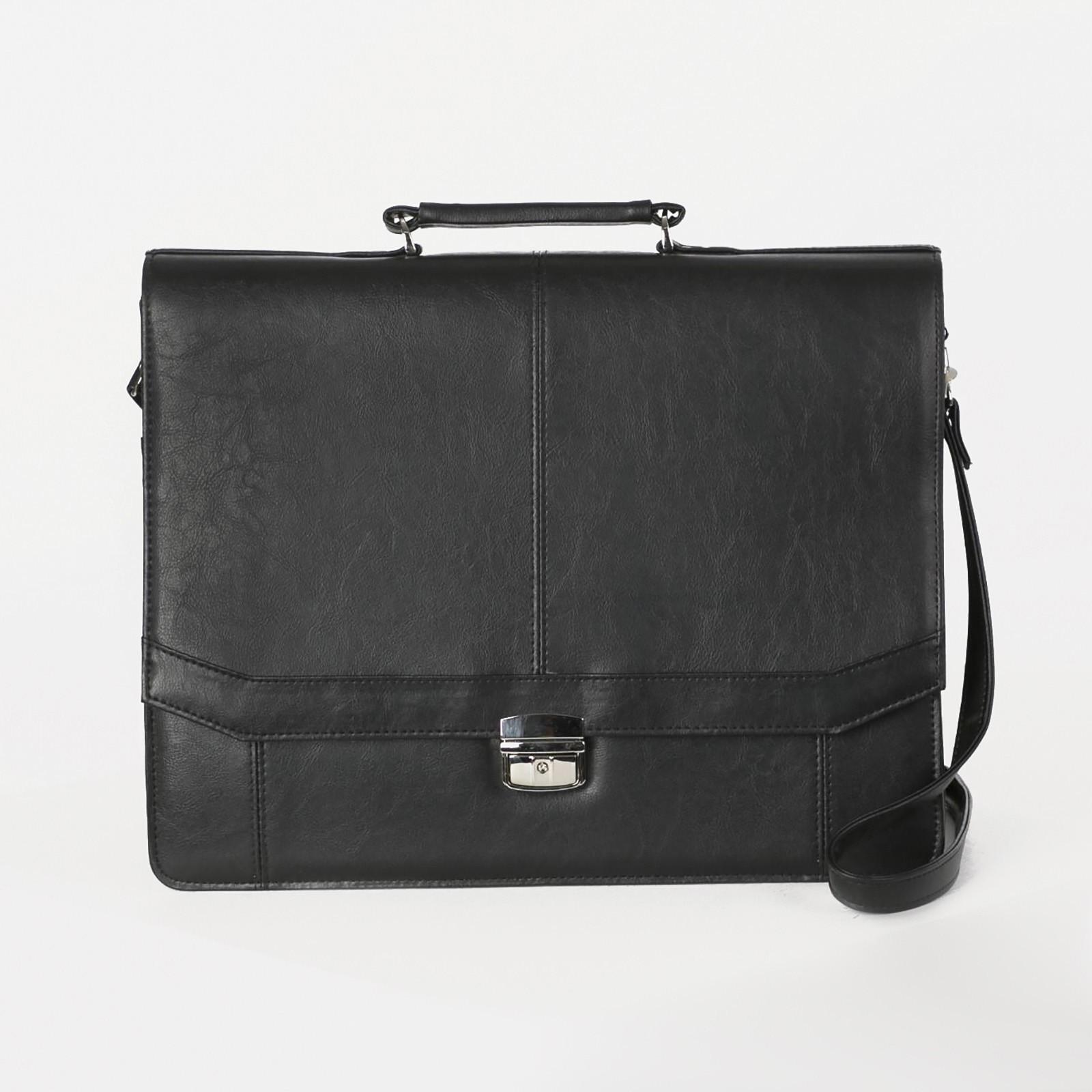4310dff5d467 Сумка-портфель мужская, 3 отдела на молнии, длинный ремень, цвет чёрный
